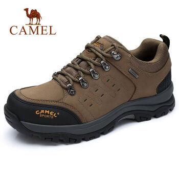 CAMEL 骆驼(中国)户外用品有限公司 男 防滑耐磨缓震休闲徒步登山 磨砂牛皮 车缝线 户外鞋 A832026375 卡其/黑、42
