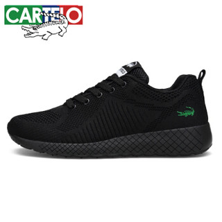 CARTELO 卡帝乐鳄鱼 2019春季 飞织布时尚运动 织物 车缝线 健步鞋 QH1302 黑色、39