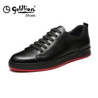 goldlion 金利来 565730710APA 男士休闲系带板鞋 黑色 40码