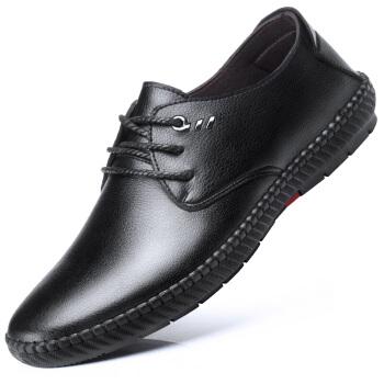伊施玛雅(Ishmaiah)男士商务休闲鞋软底透气手工皮鞋驾车豆豆鞋男鞋 8502 黑色 39