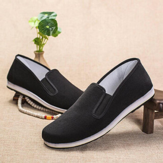 维致 传统老北京布鞋 一脚蹬懒人休闲男士牛筋底低帮 WZ1001 相口 42