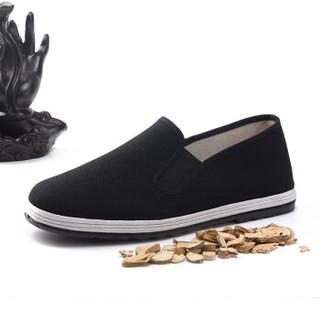布舍元 51X-7701 男士传统千层底布鞋 黑色 43码