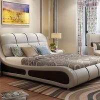 忆斧至家 软体皮艺床 框架结构 1.8米 皮床+天然山棕床垫+2柜