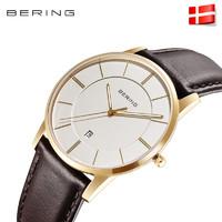 Bering 13139 男士手表 (圆形、皮革、白色)