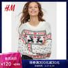 H&M女装毛针织衫女 冬季款宽松图案针织套衫HM0711344 120元