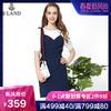 ELAND夏季新款拼接吊带中长款假两件套连衣裙EEOW82512B 359元
