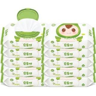 顺顺儿韩国进口婴儿手口湿巾宝宝湿纸巾新生儿专用湿巾纸绿色10包