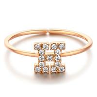 glam ever 你的专属系列 MN1601 英文字母H锆石指环 (1.5cm、金色)