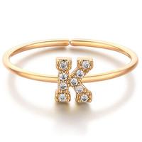 glam ever 你的专属系列 MN1601 英文字母K锆石指环 (1.5cm、金色)