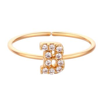 glam ever 你的专属系列 MR1401B 英文字母B锆石指环 (1.5cm、金色)