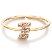 glam ever 你的专属系列 MR1401F 英文字母F锆石指环 (1.5cm、金色)