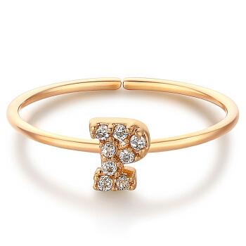 glam ever 你的专属系列 MR1401P 英文字母P锆石指环 (1.5cm、金色)