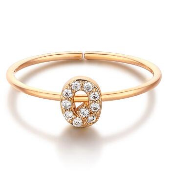glam ever 你的专属系列 MR1401Q 英文字母Q锆石指环 (1.5cm、金色)