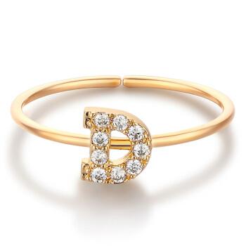 glam ever 你的专属 MR1401D 开口锆石指环 (1.5cm、金色)