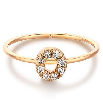 glam ever 你的专属 MR1401O 开口锆石指环 (1.5cm、金色)
