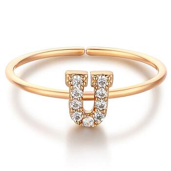 glam ever 你的专属 MR1401U 玫瑰金色生日礼物英文字母U戒指开口可调节锆石指环圣诞情人节礼物送女友 (1.5cm、金色)