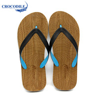 Crocodile 鳄鱼恤 男士潮流清凉简约套脚人字拖  CRO1641 木纹花 42