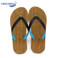Crocodile 鳄鱼恤 CRO1641 男款 潮流清凉简约 套脚 人字拖 木纹花、42
