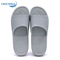 Crocodile 鳄鱼恤 男女款 家居软底浴室洗澡防滑透气 一字拖 (芯片灰 40-41)