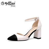 goldlion 金利来 女士  尖头 一字扣 粗高跟凉鞋 8120056202 36码、白色