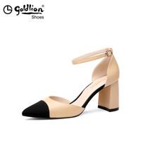 goldlion 金利来 女士拼色尖头一字扣粗高跟凉鞋812005622 35码、杏色