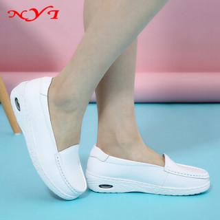 NYI白色平底防滑妈妈牛皮气垫护士鞋透气舒适孕妇1906 白色 38