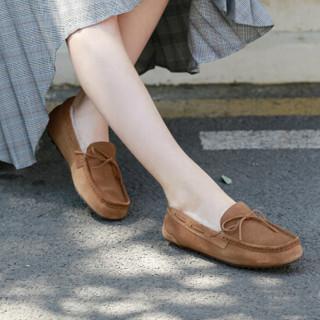 京东PLUS会员 : 京东京造 女款加绒皮毛一体豆豆鞋