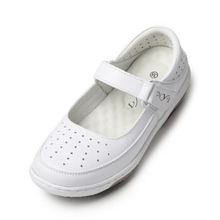 NYI舒适透气妈妈气垫护士鞋白色坡跟魔术贴孕妇1203 白色 36