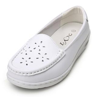 NYI牛皮百搭妈妈舒适透气减震平底孕妇潮气垫护士鞋2616 白色 39