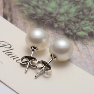 京润珍珠倾心银镶淡水珍珠耳钉圆形白色6-7mm附证书