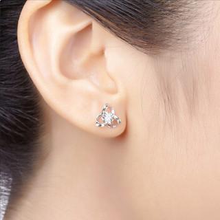 蓝色多瑙河 白18K金8分钻石耳钉耳饰 情迷HD002R
