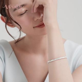 唯一满天星银手镯子女士款999足银时尚情侣简约光面银首饰品礼物约30g配证书 唯爱
