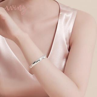 唯一银手镯女士款送妈妈光面贵妃镯999足银镯子简约时尚民族风银首饰品开口配证书礼物 约30g
