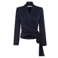 carla zampatti 丝绸系带包裹式长袖衬衫