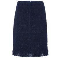 carla zampatti KNIGHTSBRIDGE 格纹流苏拉链一字裙 (10、海军蓝)