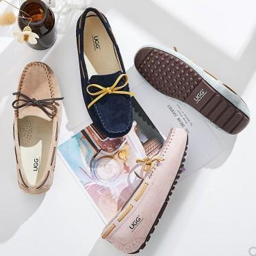 UGG AUSTRALIAN SHEPHERD 女士系带蝴蝶结豆豆鞋