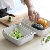 莱朗 厨房果蔬收纳蓝镂空沥水篮 3件套