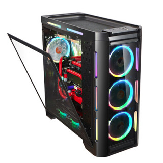 GOLDEN FIELD 金河田 Z30 幻彩LED发光台式游戏水冷电脑机箱 (黑色)