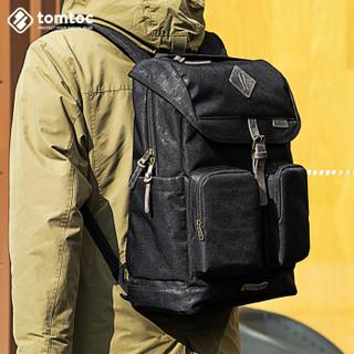 TomTom A90 复古双肩包男暗纹迷彩简约防水背包 黑色