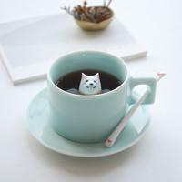 三浅陶社 陶瓷马克杯可爱萨摩犬狗创意小情侣杯子 (蓝色、1~2mm)