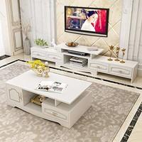 DC Life欧式轻奢浮雕可伸缩四抽地柜电视柜+茶几 两件套 *2件