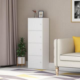 家乐铭品 储物柜四层带门柜书柜收纳柜加高加深加宽暖白色A492
