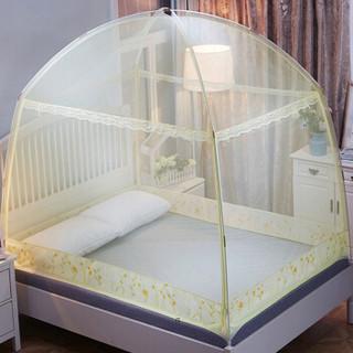 意尔嫚 蚊帐家纺 加粗支架三开门拉链款支架蒙古包蚊帐 可挂风扇 1.5米床 黄色