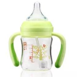 gb好孩子 玻璃奶瓶 宽口径婴儿奶瓶 仿母乳实感L号自控流量奶嘴 带手柄吸管 120ml 绿色小树 *5件