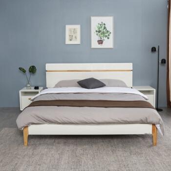 掌上明珠家居 北欧亮光烤漆床 板式实木结合双人床 1.8米 ESA117-A152