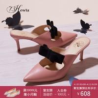73Hours 牛仔裤的夏天 蝴蝶结羊皮细跟中跟鞋女拖鞋穆勒鞋