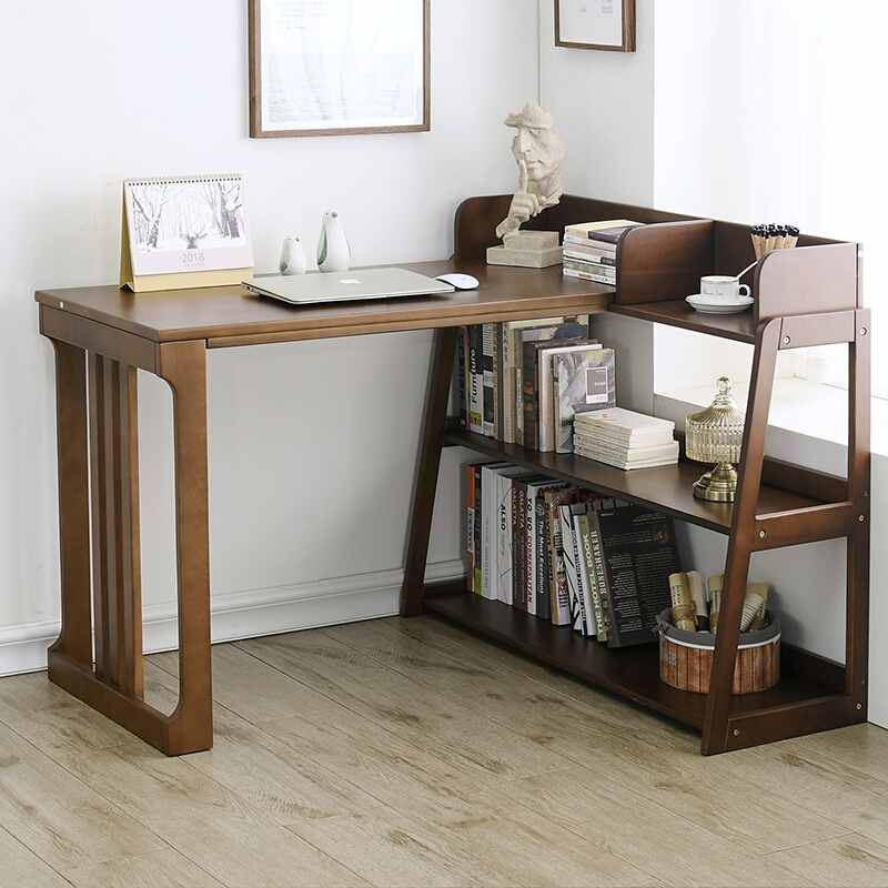 家逸 实木转角书桌书架组合