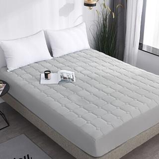 雅鹿·自由自在 床上用品 加厚夹棉床罩床单床笠 床套防滑席梦思保护套床垫保护罩单件 180*200*25cm 银灰
