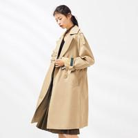 PEACEBIRD 太平鸟 2018春季新款女装双排扣外套 (中长款、卡其色、L)
