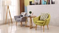 一米色彩现代简约单人布艺可拆洗沙发(淡蓝色 单人位)
